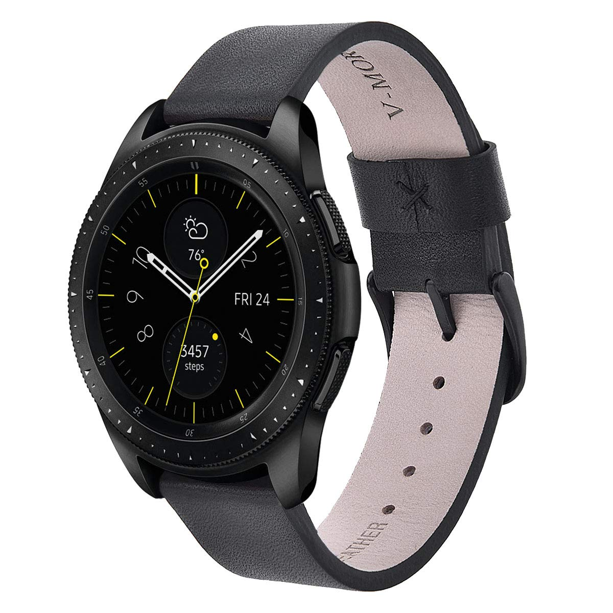 Malla De Cuero Negra Para Samsung Galaxy Watch 40 / 42mm