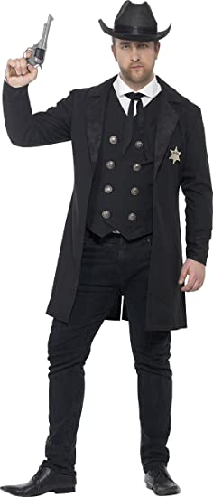 Victorian Men's Costumes: Mad Hatter, Rhet Butler, Willy Wonka Smiffys Mens Plus Size Sheriff Costume $44.40 AT vintagedancer.com