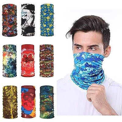 Bandana Face Mask,9pcs Magic Scarf Outdoor Headwear Bandana Sports Tube UV Face Mask for Workout Yoga Running Hiking Riding (C): Clothing