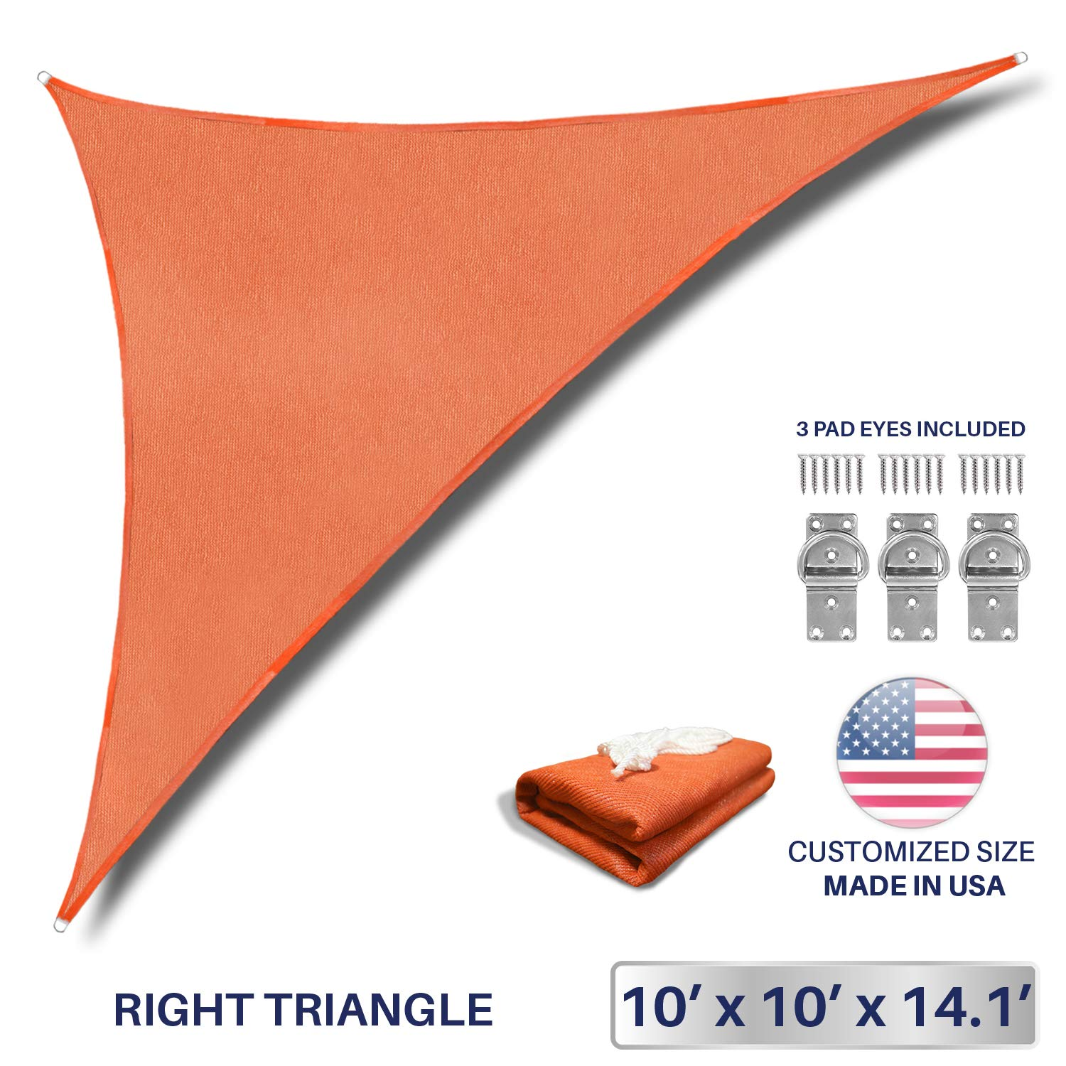 Windscreen4less 10' x 10' x 14.1' Triangle Sun Shade Sail - Solid Orange Durable UV Shelter Canopy for Patio Outdoor Backyard Included Free Pad Eyes - Custom Size (3 Year Warranty)