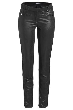 MORE   MORE Damen Schwarze Hose mit Glanz-Front Schwarz 44  Amazon ... 4065f7d255