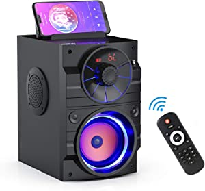 Portable Bluetooth Speakers with Light, Wireless Big Speaker with Subwoofer, FM Radio, LED Lights, EQ, Booming Bass, Bluetooth 4.2 Stereo Loud Outdoor/Indoor Party Speakers for Home, Camping, Travel
