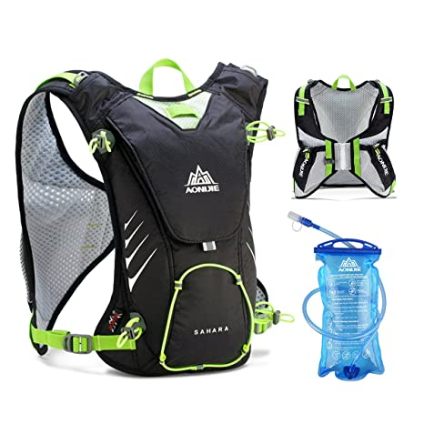 JEELAD 8L Hydration Backpack Hydration Running Vest for Marathon Camping Hiking Cycling (Black (8L