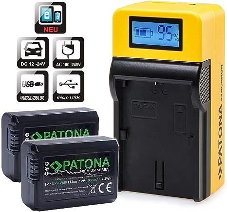 Ladegerät f NP-FW50 Sony Alpha a6500 ILCE-6500 2x Akku Patona Premium