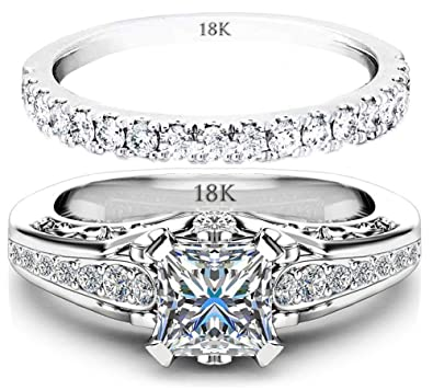AndreAngel Wedding Sets Rings Engagement Bridal Marriage Promise Proposal Women White Gold 18K Carat Cubic Zirconia