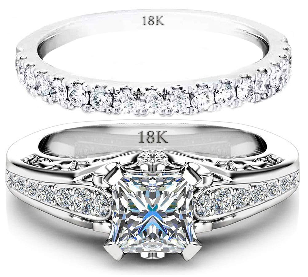 AndreAngel Ring Set Wedding Women Engagement White Gold 18K Cubic Zirconia Pave CZ Lab Diamond Stones 6 mm AAA Unique Cute Princess Cut Marriage Bridal Promise Valentine's Day Wed Rings Sets Size 7