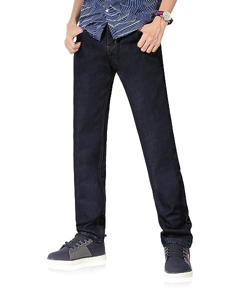 Demon&Hunter 801 Straight Series Hombre Pantalones Vaqueros Recto Forro Polar Jeans DH8001-1(29