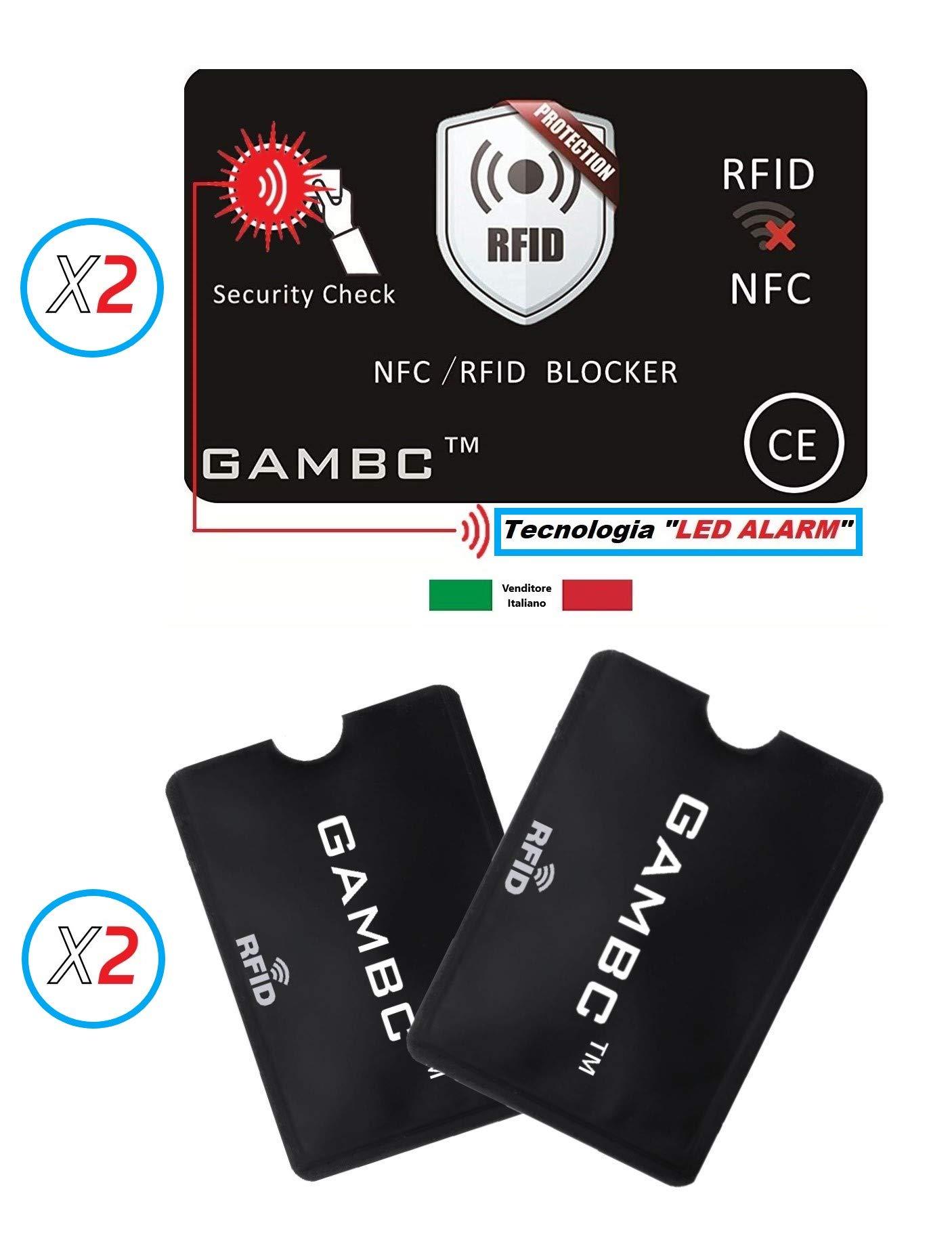 b72389efdd 4 PZ ✅ 2 Carte Protezione Rfid con LED + 2 Custodie Blocco RFID/NFC