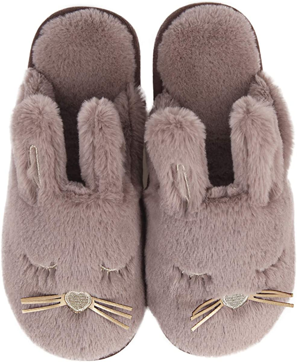 Fuzzy Bunny House Slippers for Women Fluffy Animal House Shoes for Bedroom