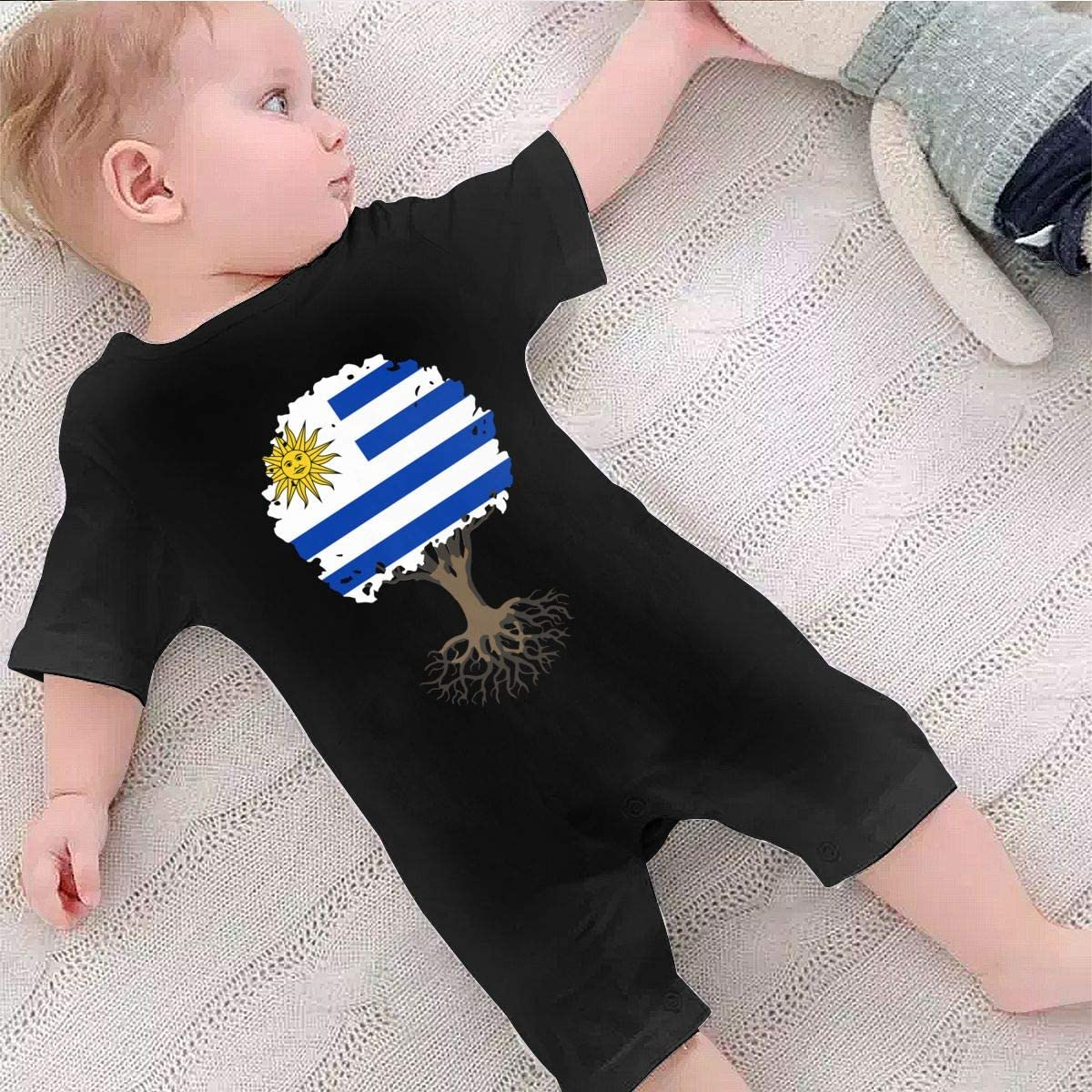 AYL8pf Tree of Life with Uruguay Flag Baby Boy Bodysuits One Piece Infant Short Sleeve Romper Jumpsuit