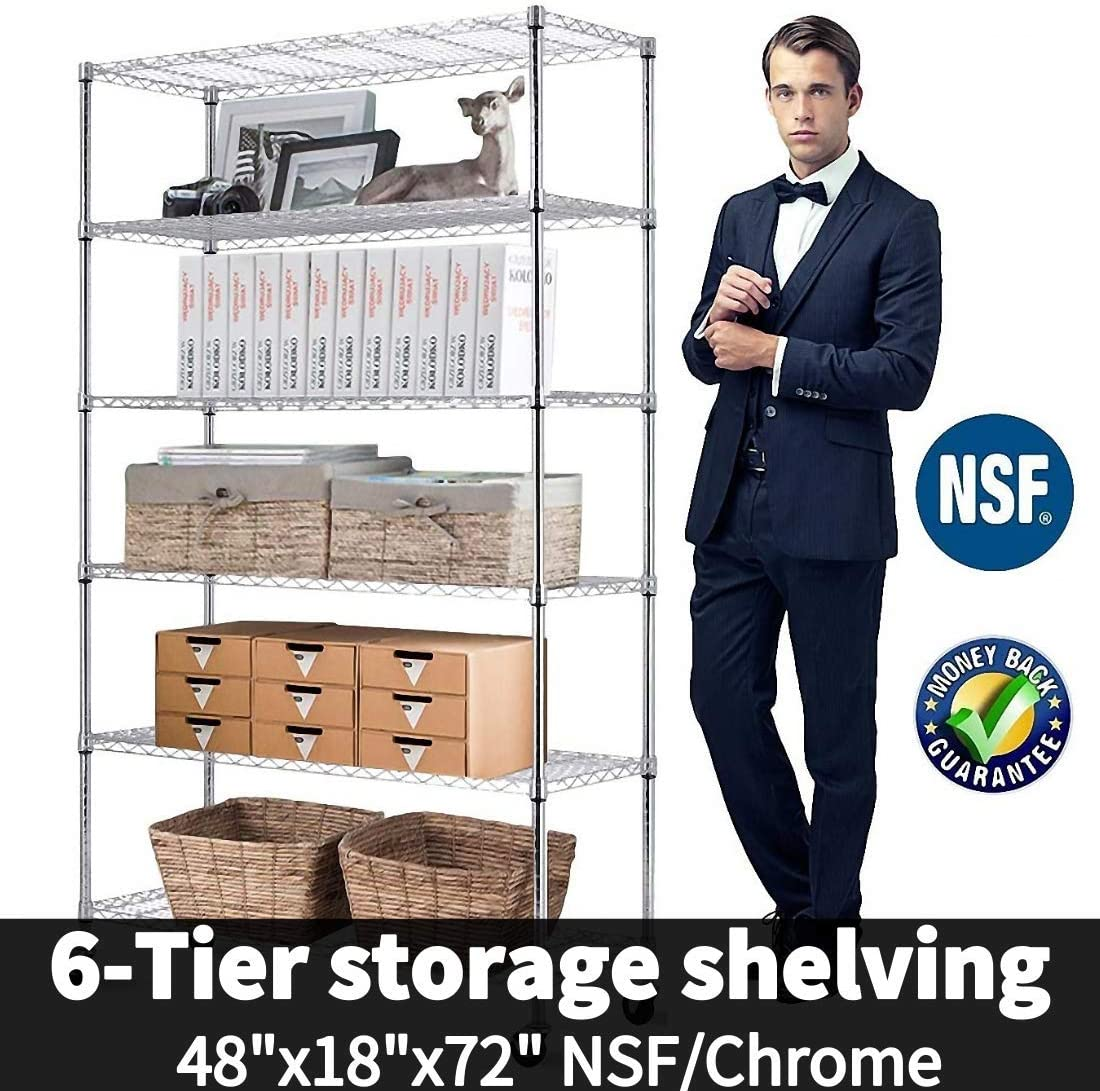 "6-Tier Shelf Wire Shelving Units, Height Adjustable Organizer Garage Storage Units Heavy Duty Utility Metal Rack,4800lbs Wire Shelving Rack w/Wheels for Garage Office Kitchen, 48""x18""x72"" NSF/Chrome"