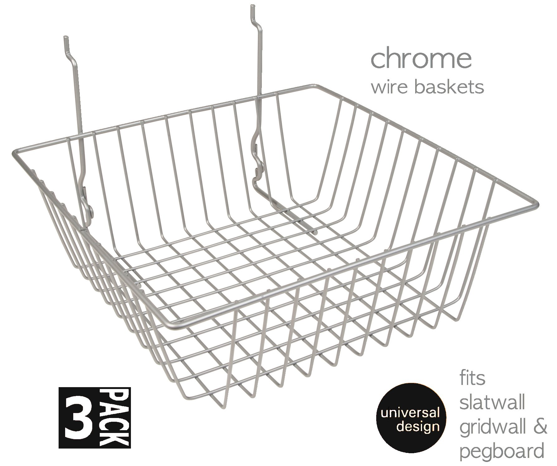 Only Garment Racks #5612C (Pack of 3) Only Garment Racks Chrome Wire Baskets for Gridwall, Slatwall and Pegboard - Chrome Finish - Set of 3
