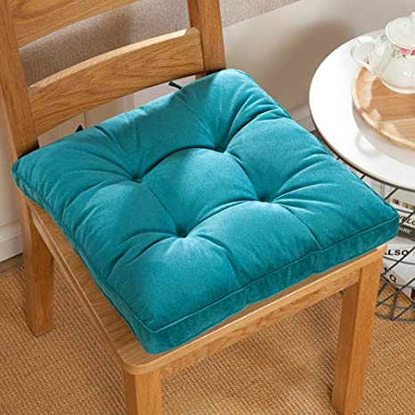 Square Solid Floor Pillow Futon Papasan Patio Seat Cushion Reversible Chair Cushion with Ties Tatami Pad Washable Window Pad Bench Cushions 18 Inch Green