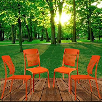 Spinecare Series 2109 - By Italica Furniture With Ergonomically Designed Swingback For Complete Back Support For Indoor, Outdoor, Restaurant, Classroom And Dining Room (Matte Finish, Orange, Set of 4)
