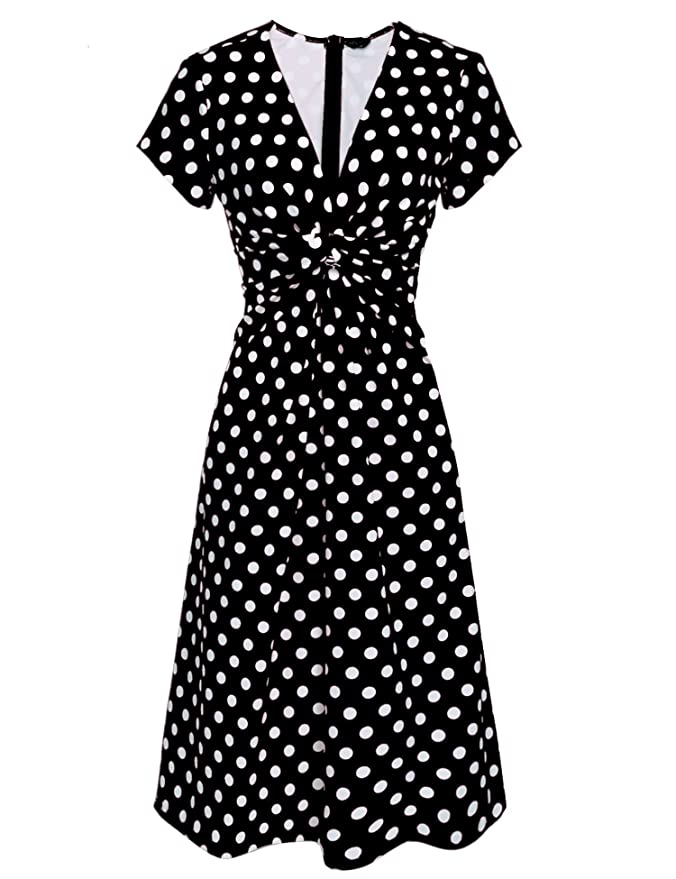 Vintage Polka Dot Dresses – Ditsy 50s Prints ACEVOG Womens V Neck Short Sleeve 1940s/40s Polka Dot Pin-up Ruched Full Length Dress $27.99 AT vintagedancer.com
