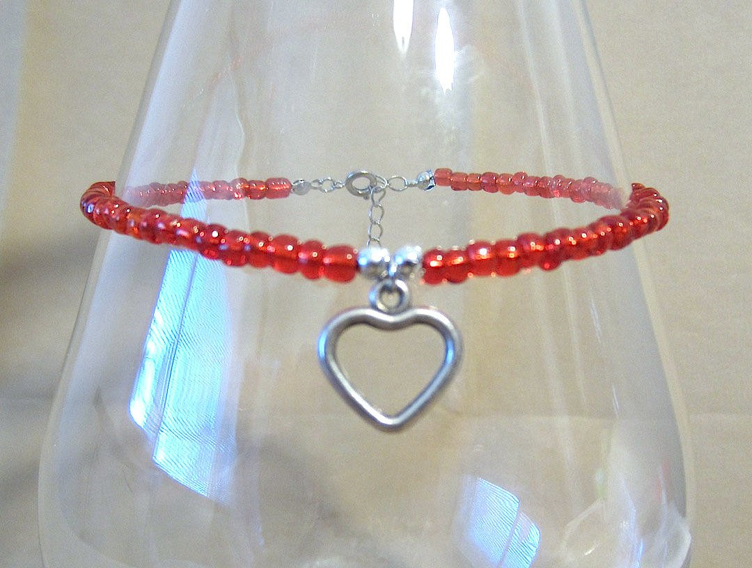 ngacraft Red Bead Anklet w/Silver Open Heart Charm, Glass Seed Bead Ankle Bracelet, Silver Heart Charm, Plus Size Anklet, Handmade Beaded Jewelry