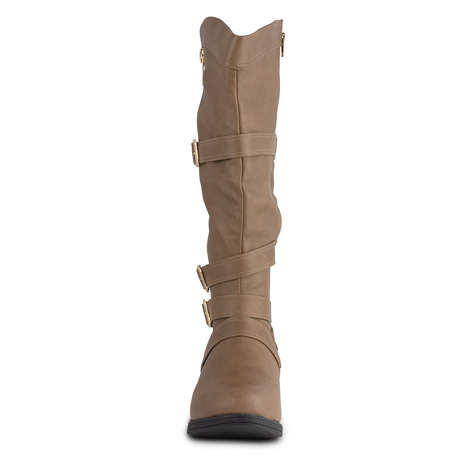 Twisted Women's AMIRA Wide Width/Wide Calf Faux Leather Knee-High Western Flat Riding Boot with Multi Buckle Straps B00M3FMM0G 11 C/D US|Taupe