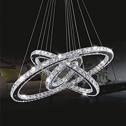 check out 4b58d 11f0b TOPMAX Chandelier Light, K9-Cut Crystals Led Ring Chandelier Natural Light  Celling Pendant Light with 3 Round Rings(30+50+70cm)