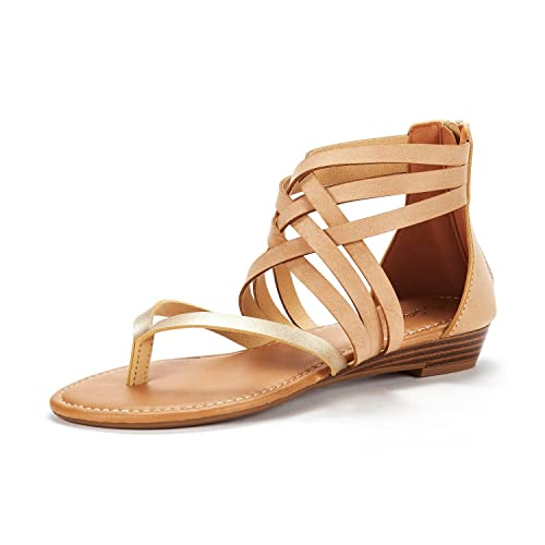 3bfbbad15 DREAM PAIRS Women s JUULY 02 Gold Nude Fashion Gladiator Design Ankle Strap Flat  Sandals Size 5