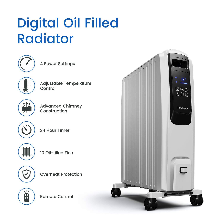 Pro Breeze Digital Radiador de Aceite 2500W - 10 Elementos, 4 Configuraciones de Calor, Temporizador y Termostato: Amazon.es: Hogar