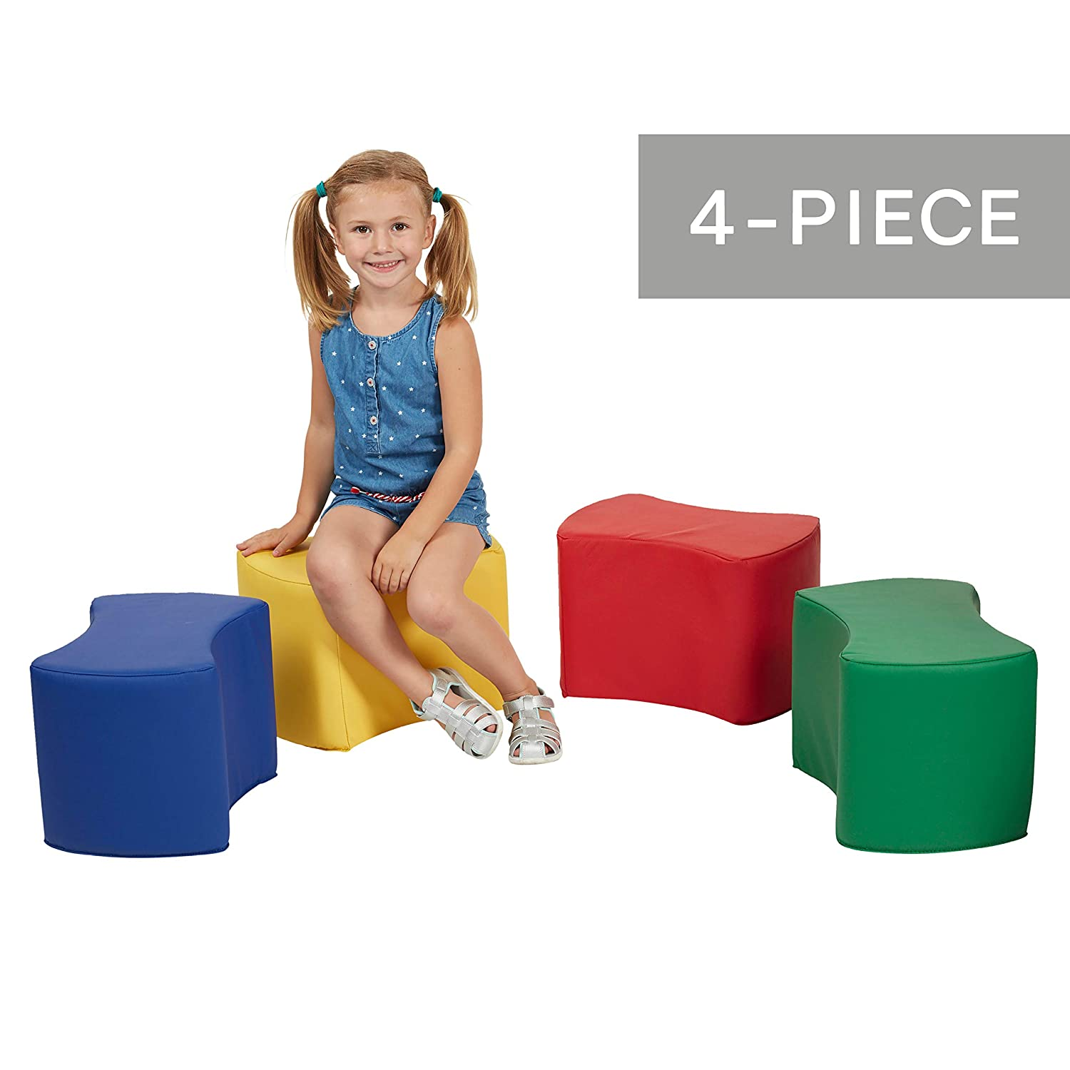 FDP SoftScape 12 inch Butterfly Stool Modular Foam Seating Set for Kids Home - Contemporary Colorful Flexible Seating for Classrooms 4-Piece Set Libraries