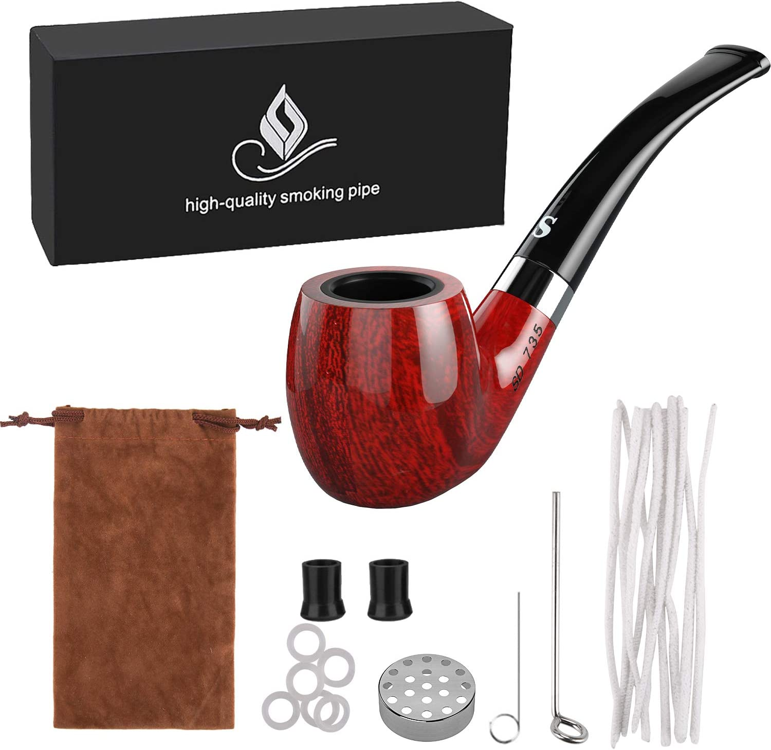 Joyoldelf Tobacco Pipe, Smoking Pipe with Flat Bottom - Pipe Pin & Tamper, Pipe Screen & Pipe Bits, Pipe Cleaners & Rubber Ring, Bonus a Pipe Pouch & Gift Box