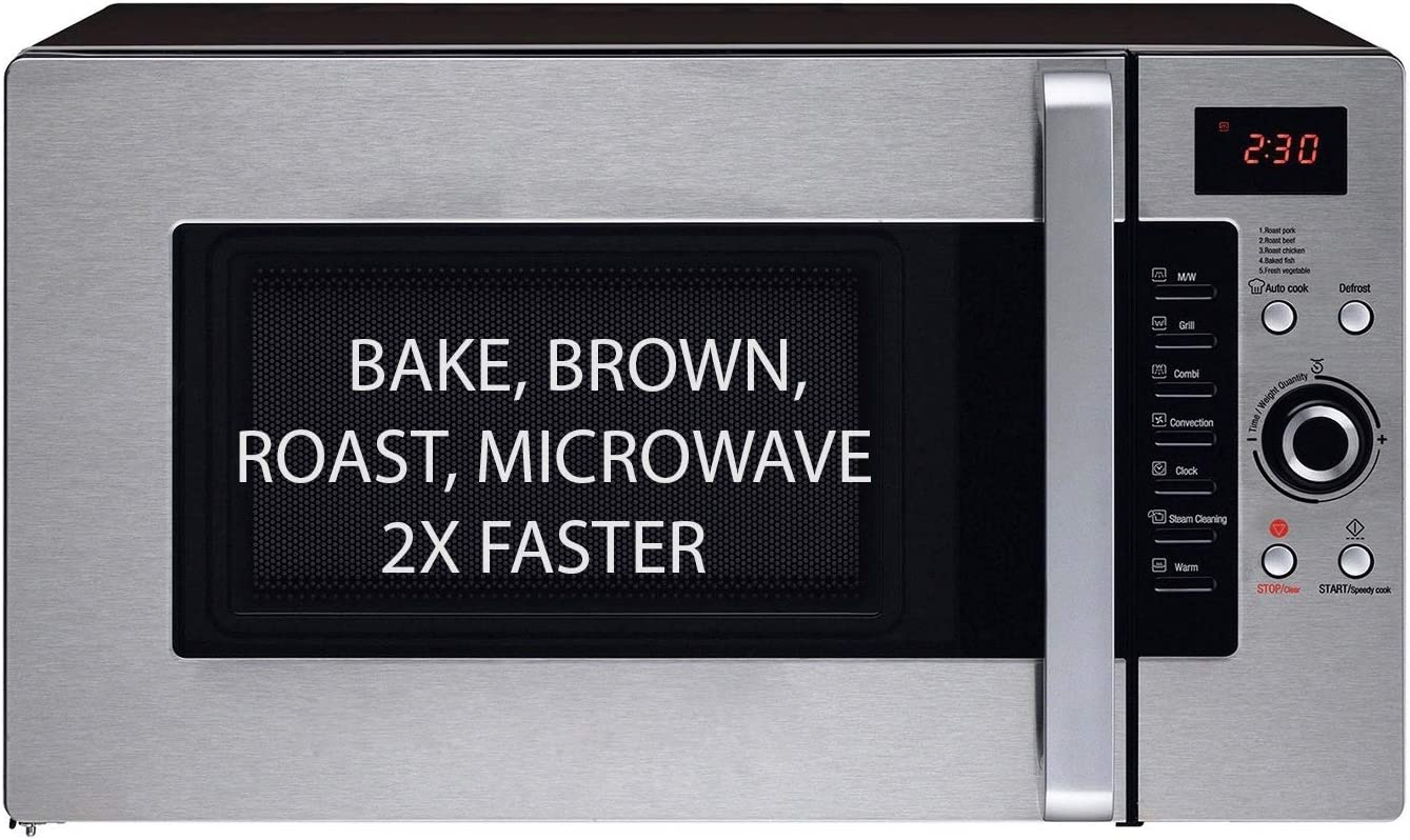 3 in 1 Oven: Half Time Convection Microwave Oven, Bake, Brown, Roast in Half the Time, Countertop Stainless Steel/Black. 2 Year Manufacturers ...