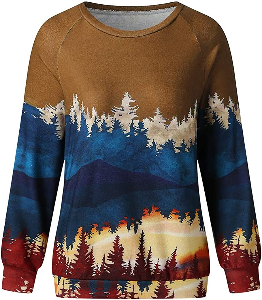 Hotkey Womens Fall//Winter Sweatshirts Long Sleeve O-Neck Tops Mountain Forest Print Pullover Casual Loose Blouse Shirt
