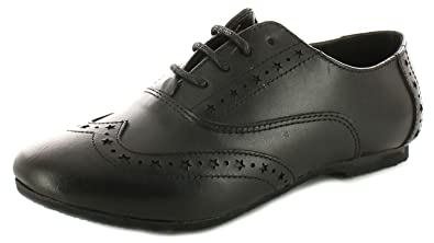 1815ec98f544 New Girls Childrens Black Leather Brogue Lace Fastening School Shoes - Black  - UK Size
