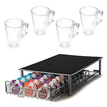 Portacápsulas de café de calidad superior, para 56 cápsulas, compatible con cafeteras Tassimo, incluye 4 vasos de café, color gris: Amazon.es: Hogar