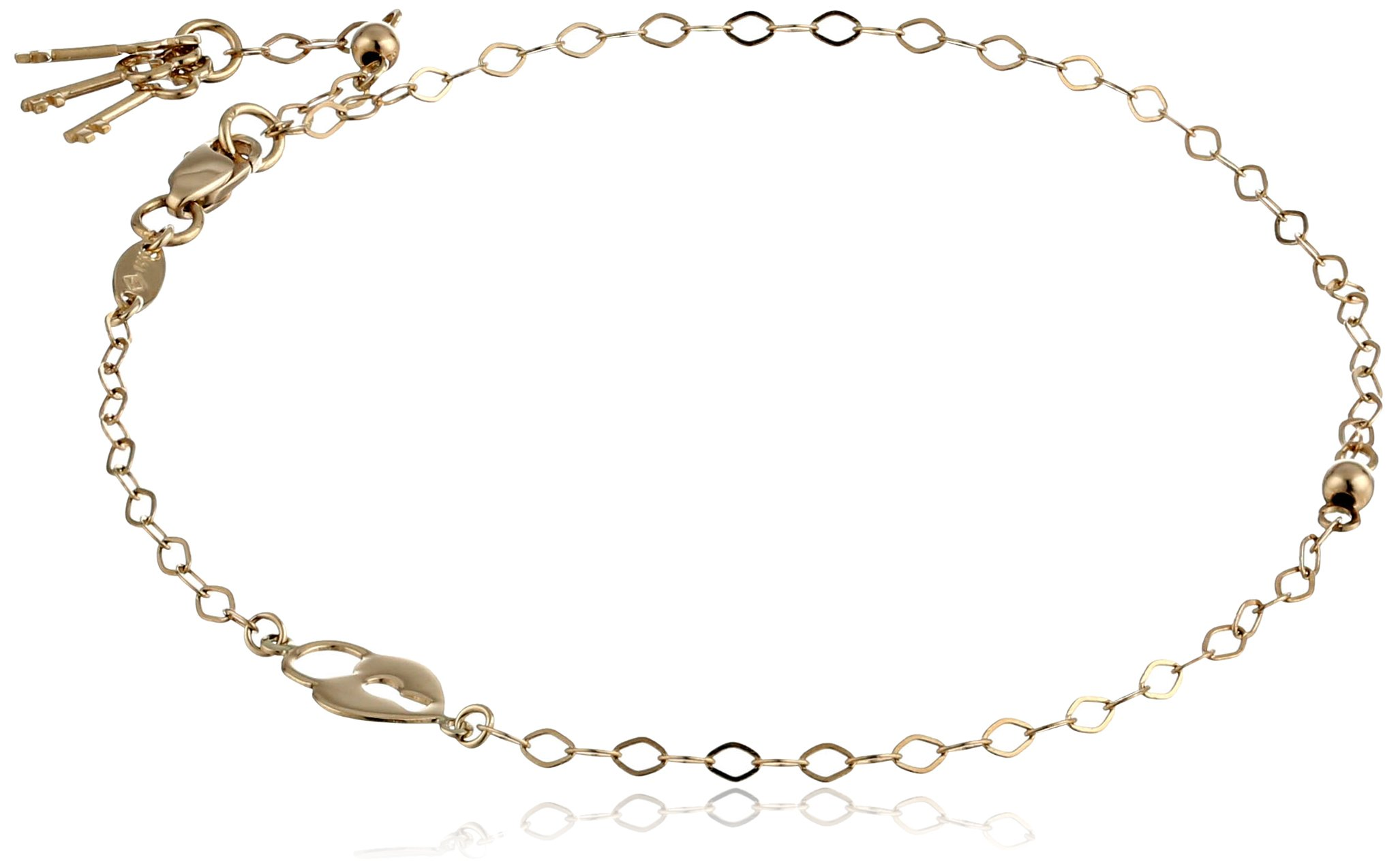 14k Yellow Gold Open Rolo Heart and Key Adjustable Anklet, 9''-10''