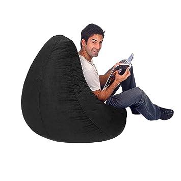 Black Plush Large Bean Bag Cover
