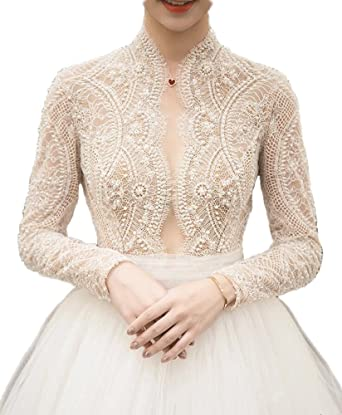 Kmbridal Vintage Lace Long Sleeve Wedding Dresses Pearls Princess Wedding Bride Gowns