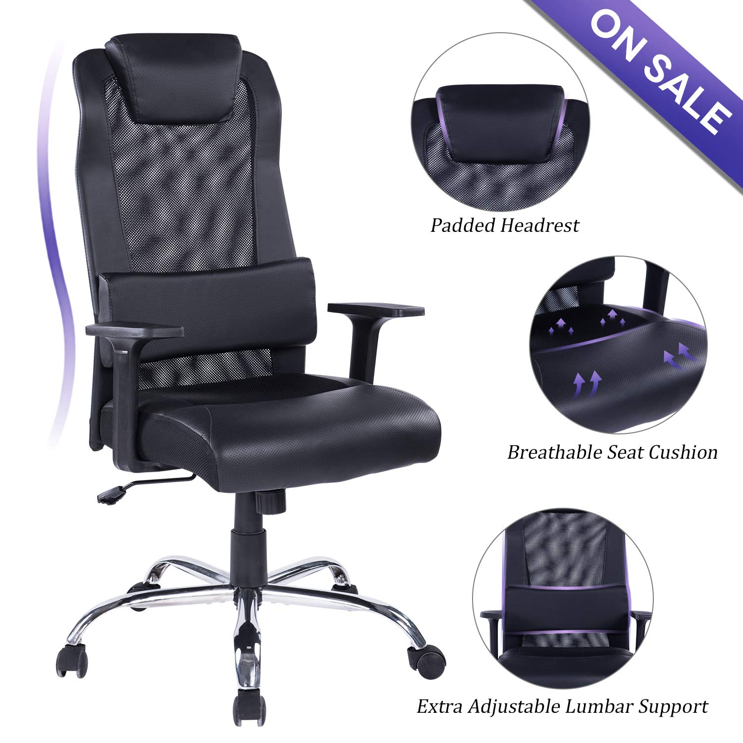 REFICCER Mesh PU Leather Office Chair Computer Desk Task Ergonomic Swivel Chair – Adjustable Lumbar Support and Padded Headrest, Black