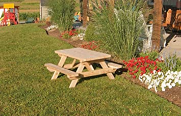 Kids Childrenu0027s Cedar Picnic Table   Amish Made USA   Stained   Redwood