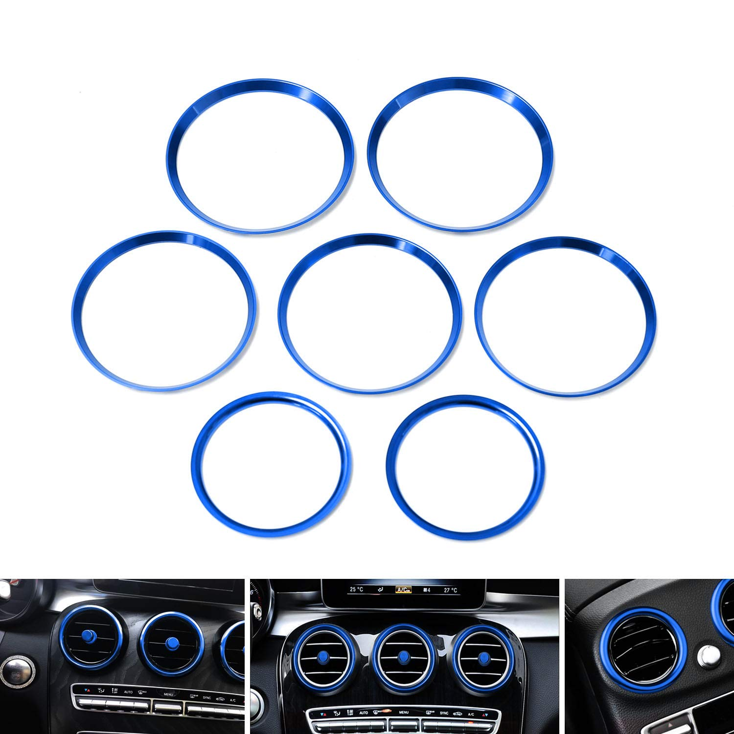 Sports Blue Aluminum Steering Wheel Center Decoration Cover Trim For 2015-up Mercedes C E CLA GLA GLC GLE Class 1 iJDMTOY