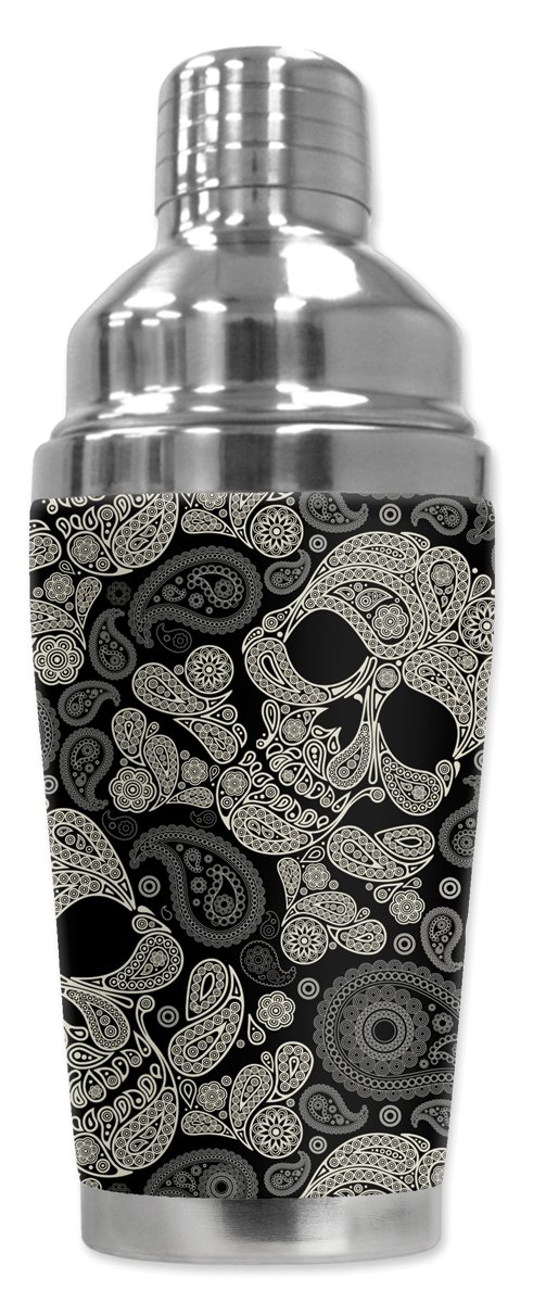 Mugzie 946-SHA ''Paisley Skulls'' Cocktail Shaker with Insulated Wetsuit Cover, 16 oz, Black