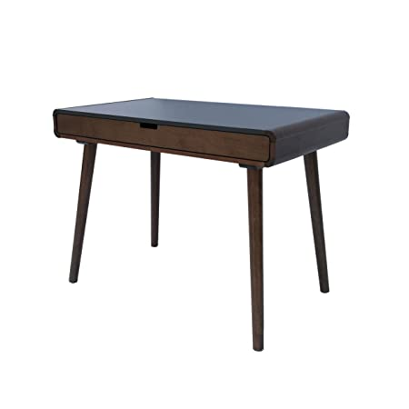 Great Deal Furniture | Rex | Mid Century Wood Writing Desk | In Charcoal Grey/Medium Brown by Great Deal Furniture