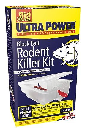 The Big Cheese Ultra Power Block Bait² Rat Killer Station, Transparent,  7 5x13x23 5 cm