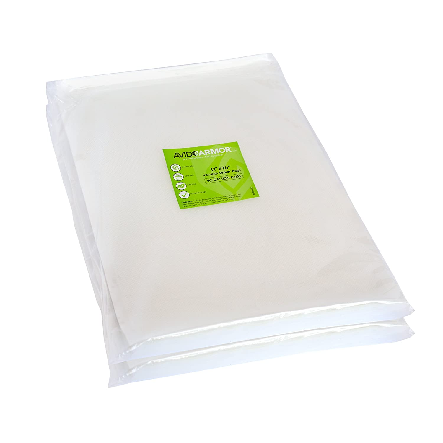 "100 Gallon Vacuum Sealer Storage Bags for Food Saver, Seal a Meal Vac Sealers, 11"" x 16"" Size, BPA Free, Heavy Duty Commercial Grade, Sous Vide Vaccume Safe, Universal Design Pre-Cut Bag Avid Armor"