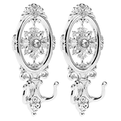 Imported 2 pcs Vintage Silver Oval Curtain Hanger Tieback Wall Mounted Hook Holder