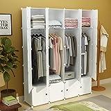 KOUSI Portable Closet Clothes Wardrobe Bedroom Armoire Storage Organizer with Doors, Capacious & Sturdy, White, 8 Cubes&4 Hangers