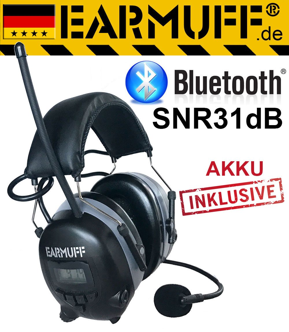 Dynamic noice reduction 31dB Original ''EARMUFF'' with Bluetooth and DS-Alert - Extra Tough Radio Ear Protection Headphones with Smartphone with AUX in Cable and Built-in Battery