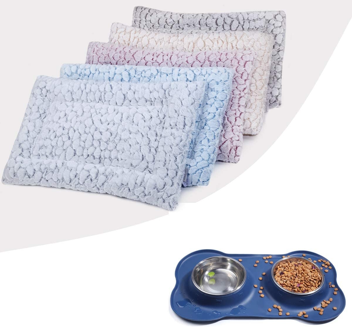 Reversible Super Soft Plush Cat Dog Bed for Crate Kennel Cage 30 x 19 Inches, Machine Washable & Dog Bowl Set