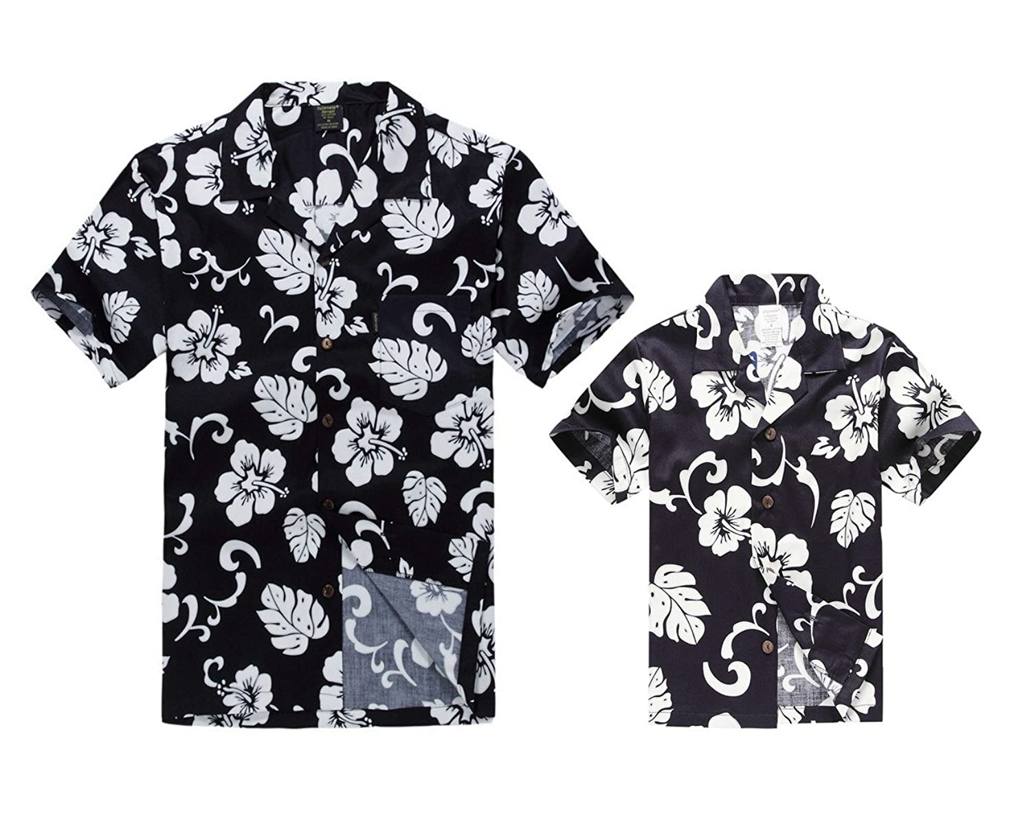 d964e1b9 Matching Father Son Hawaiian Luau Outfit Men Shirt Boy Shirt Navy Hibiscus:  Amazon.co.uk: Clothing