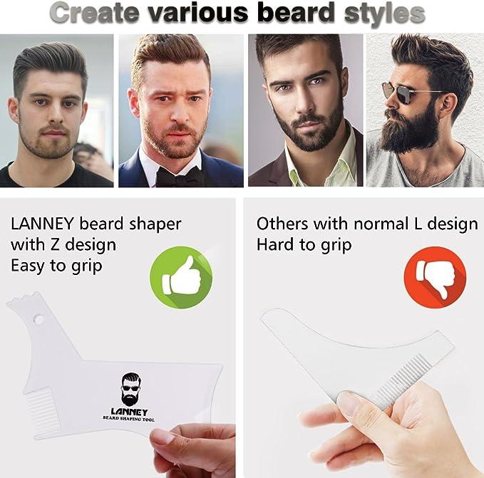 Plantilla para moldear barba, herramienta de modelado transparente, para bigote de cabra y patillas de pelo, guía de aseo para hombres, línea de ...