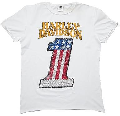 2e53e92a7e H D CLASSIC Herren Men T-Shirt Weiss White Official HARLEY DAVIDSON  Merchandise Number 1 Strass