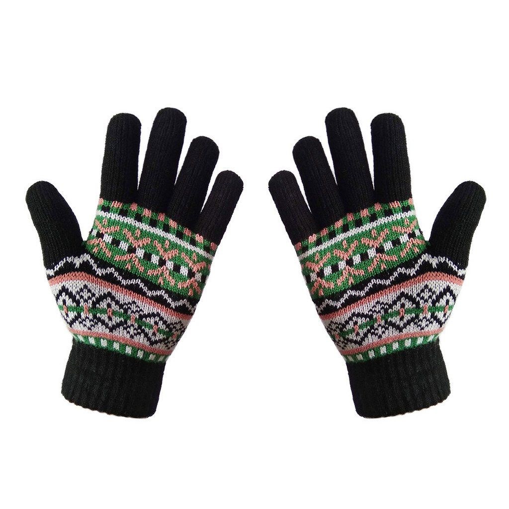 LETHMIK Womens&Girls Thick Knit Gloves Warm Winter Colorful Glove with Wool Lined Black