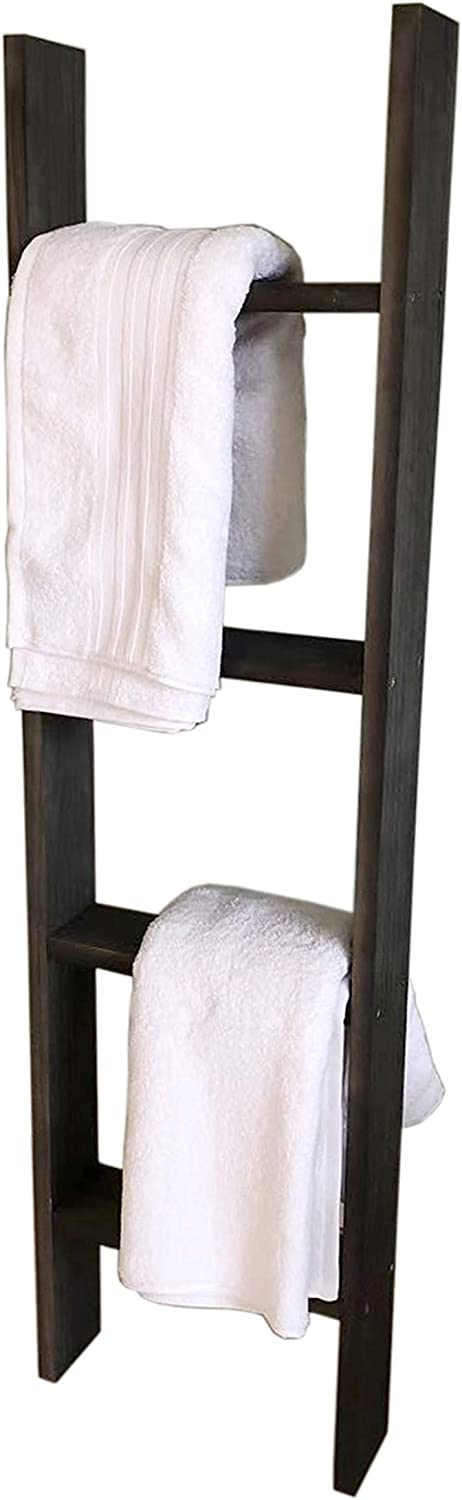 FixtureDisplays 4-Foot Rustic Farmhouse Blanket Ladder, Wall-Leaning Decorative Wood Ladder, Ladder-Style Pine Wood Blanket Rack Easy Assembly Required 12