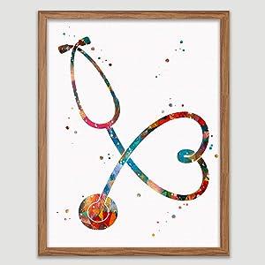 Stethoscope Watercolor Art Print Medical Tools Wall Decor Medical Wall Art Love Heart Art Clinic Decor Gift for Doctor Stethoscope Love Medicine Print Doctors Nurses Medical Art